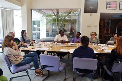 Particpants in Leora Kahn's wokshop at Clark University