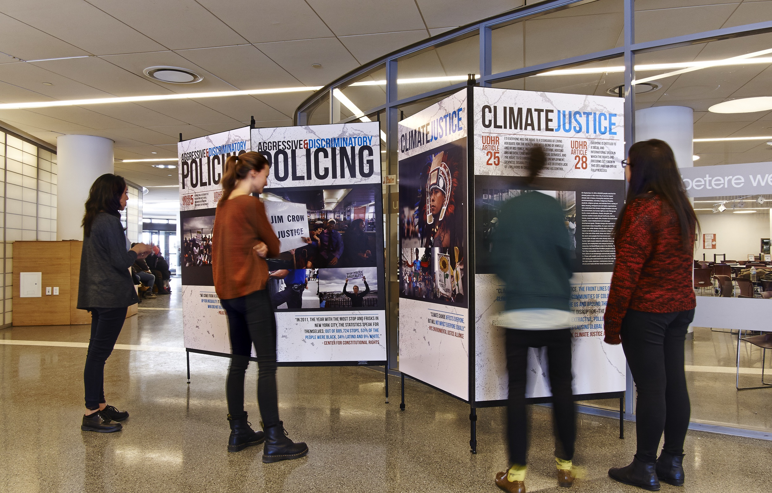 Picture Justice's exhibit at the UN International School. Photo courtesy of David Arky,
