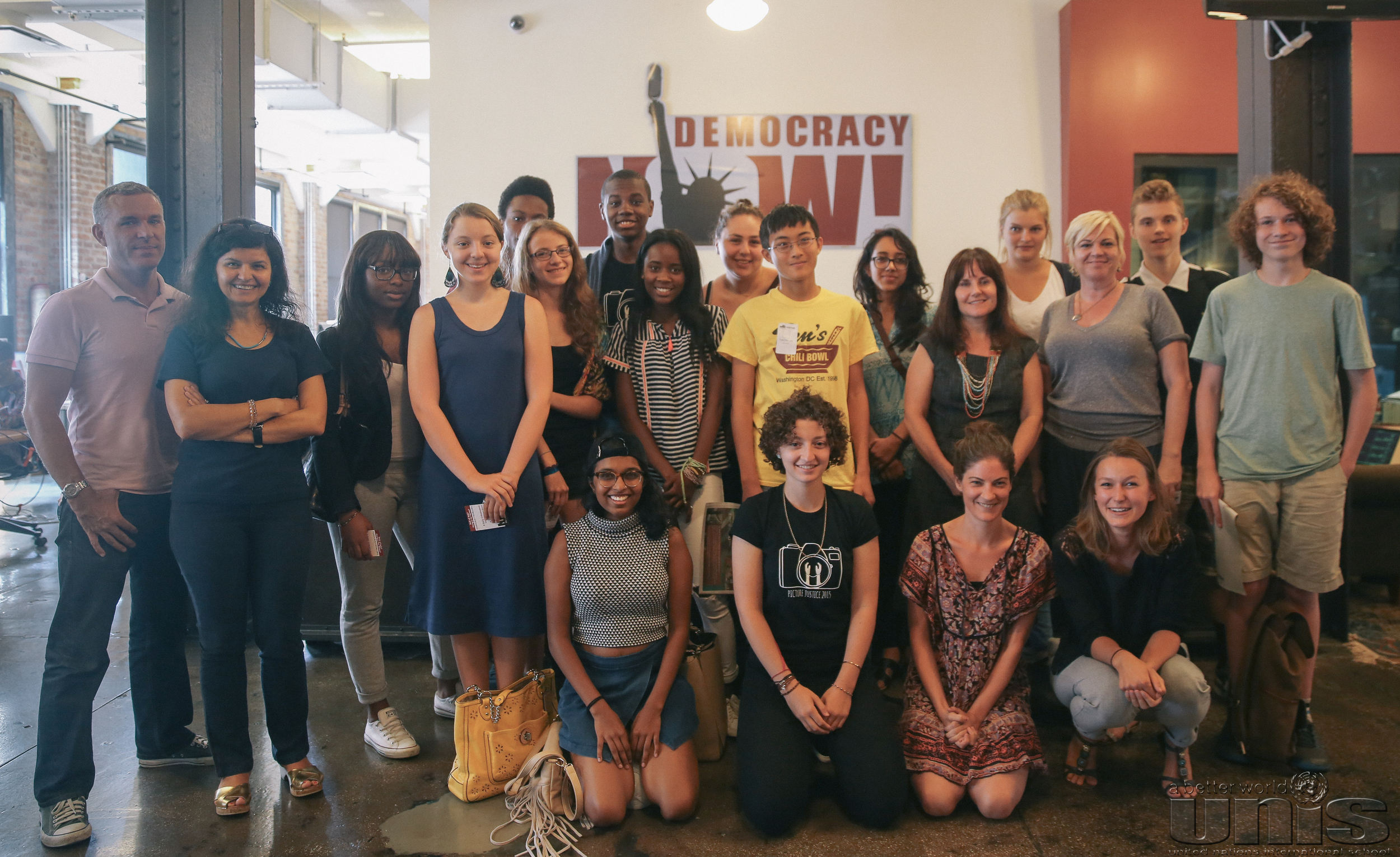 Picture Justice participants at Democracy Now! Photo courtesy of Ligeia Moltisanti