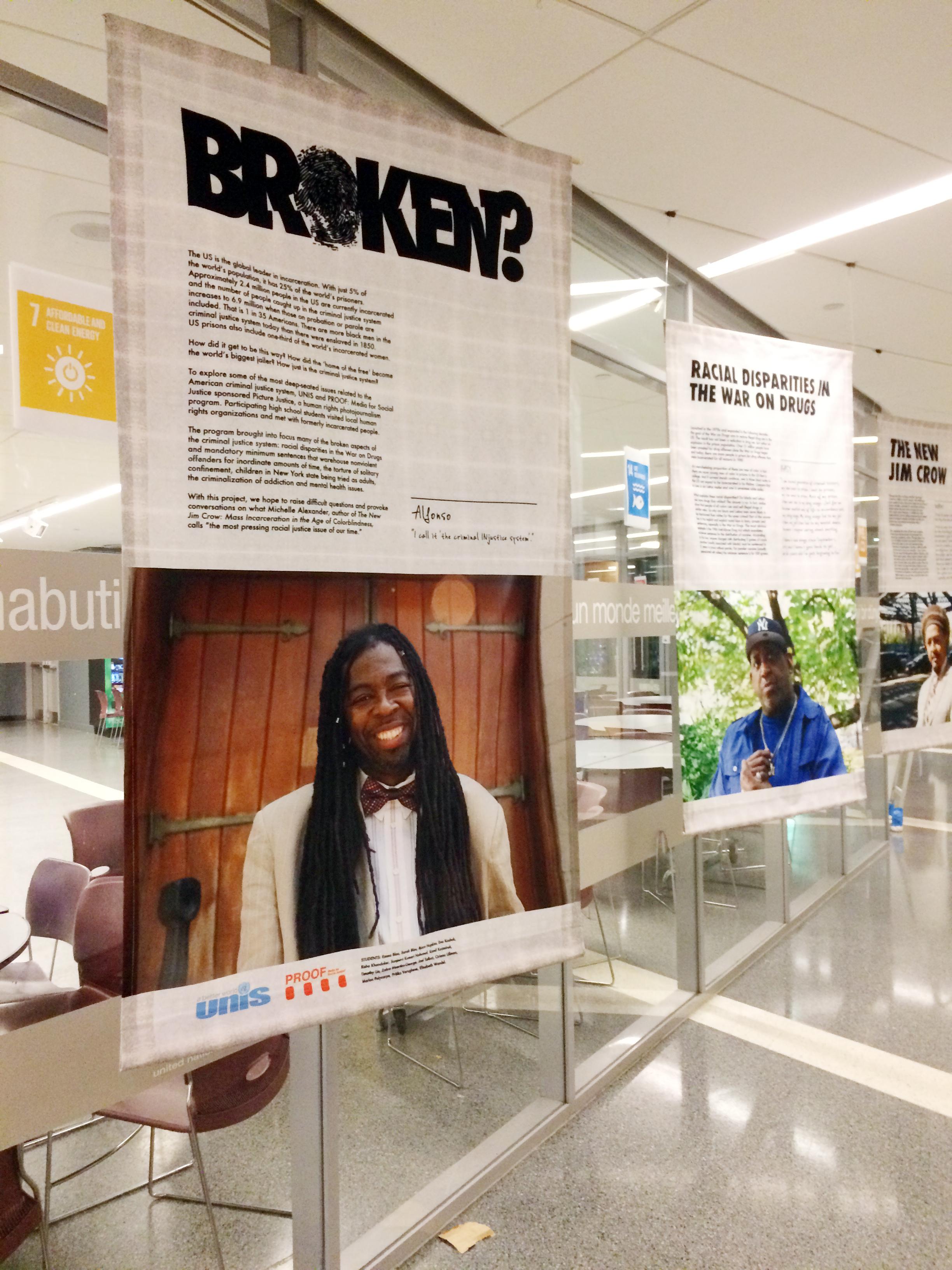 "Installation of ""Broken?"" at UNIS, November 2015. Image: PROOF: media for Social Justice."