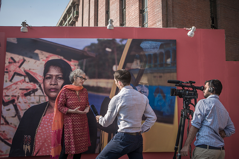 PROOF's Executive Director, Leora Kahn, at the December 16 opening of  Unearthed in Delhi, India.