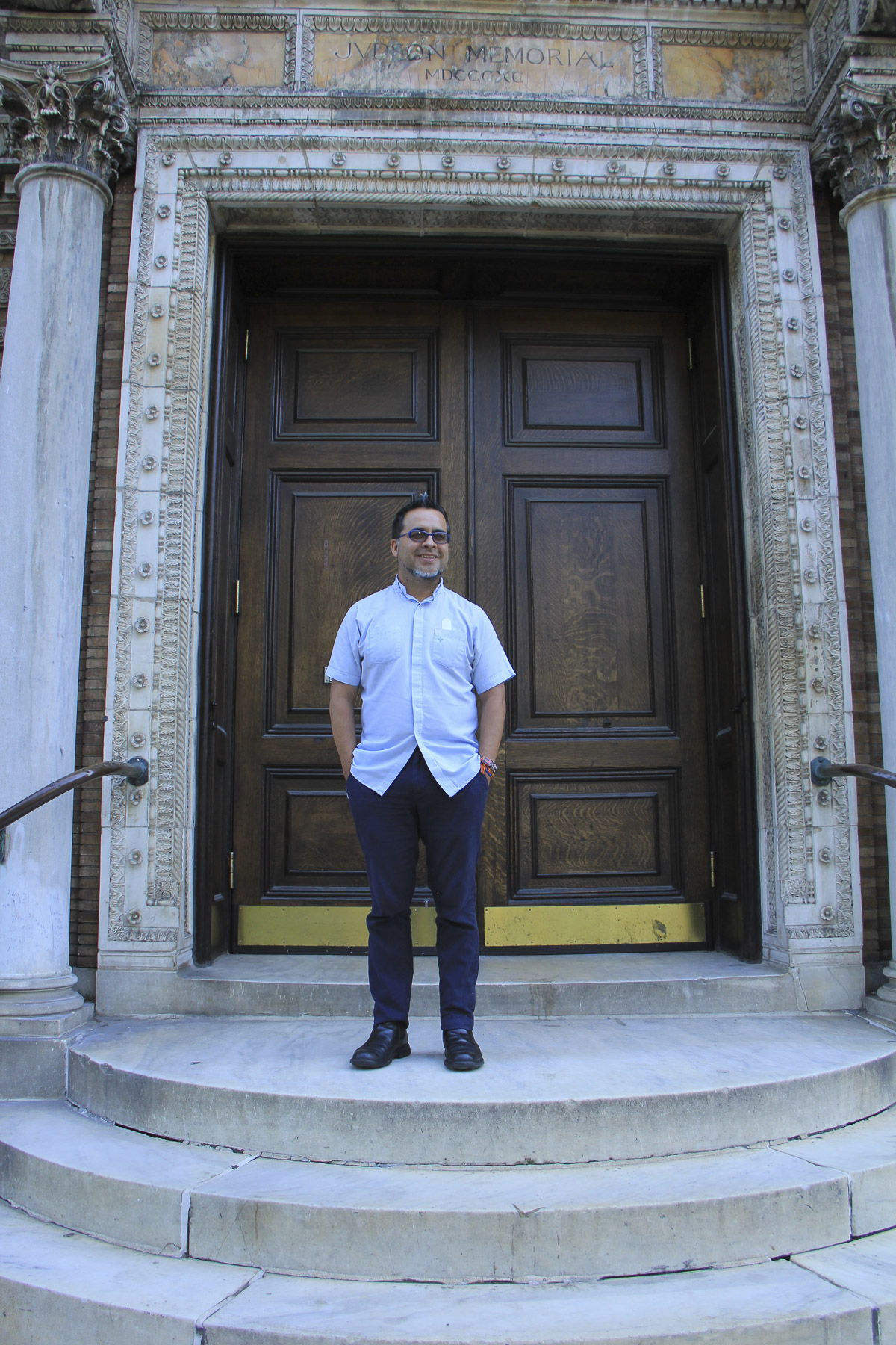 Juan Carlos Ruiz standing outside Judson Memorial Church in Washington Square Park, New York – August 17, 2017.