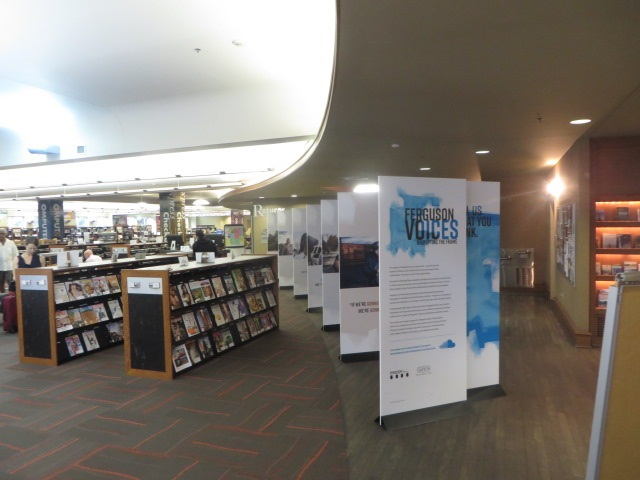 Ferguson Voices: Disrupting the Frame exhibition, on display at the St Louis Public Library