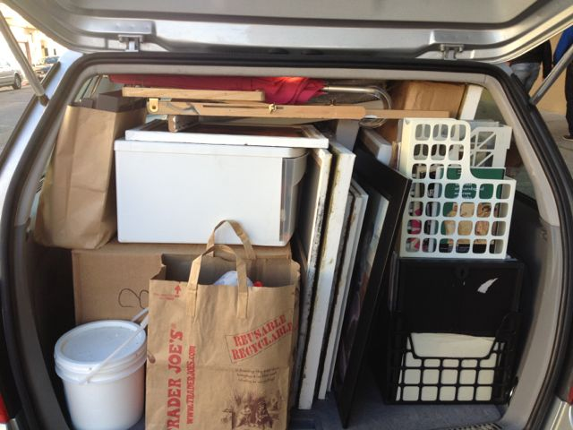 My car was pretty packed as I moved all my painting supplies and work from San Francisco Studio to Sacramento studio