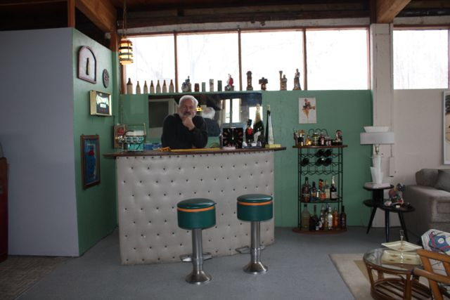 Bruce behind the restored 1950s bar.