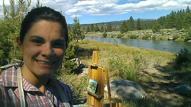 Painting by the Truckee River on Sat afternoon