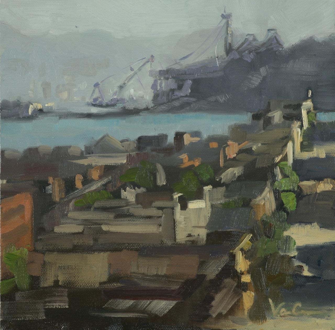 Rebuilding The Bay Bridge, Oil on Canvas, Starting Bid $175.00 Value: $400.00