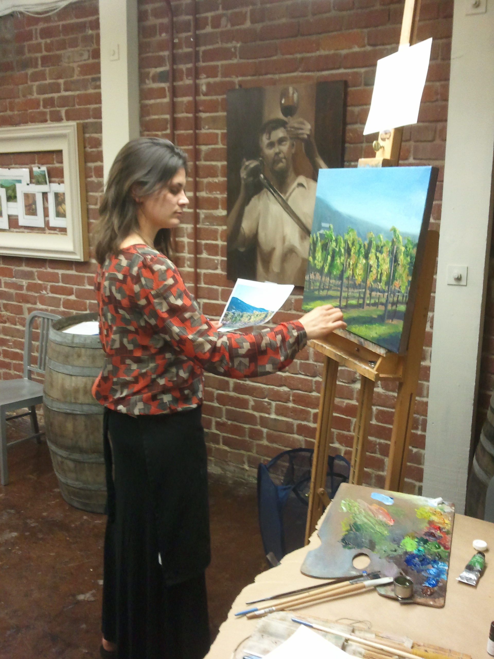 I was adding some finishing strokes to the raffle piece Sat. Night. Valued at $1500.00, folks could purchase tickets for $10.00 and by the end of the reception Sat. Night, someone would be getting their own Napa inspired vineyard painting.