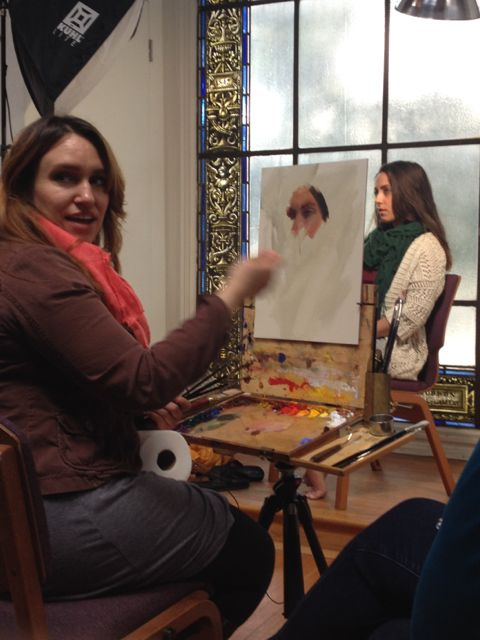 Michelle Dunaway showing us how she starts portraits - working from the eyes (focal point) out. Very interesting approach!