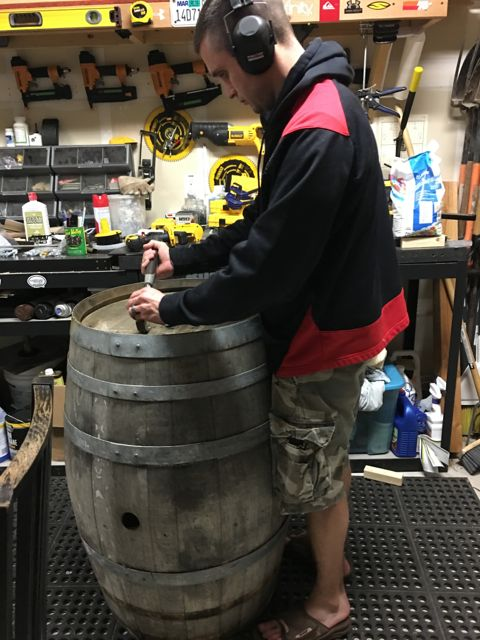 I've been painting on wine barrels so it takes a little prep to get my surface ready. Thankfully AJ has been helping me take the barrels apart and rebuild them the size I want.