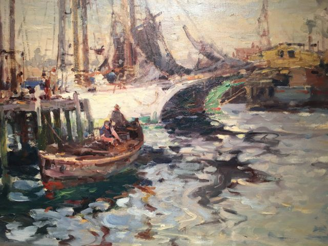 Harbor, Harry Aiken Vincent, circa 1920s,  This artist was part of an art colony in Massachusetts. This is a common subject matter for Vincent who would paint numerous scenes along the New England Coastline. I was drawn to this painting because of the vivid colors and movement in the water. The sense of light and shadow in this painting is so strong. I feel as though I can hear the seagulls squawking, smell fish in the air, and hear waves lapping up against the wooden planks of the dock.