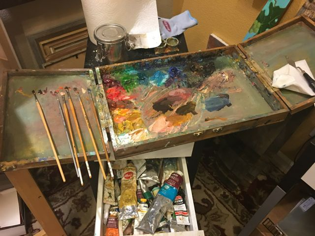 I like to have a big clean surface to work on. My palette gets cleaned off every night so I can work with fresh mixtures each day. Color mixing is one of my favorite parts.