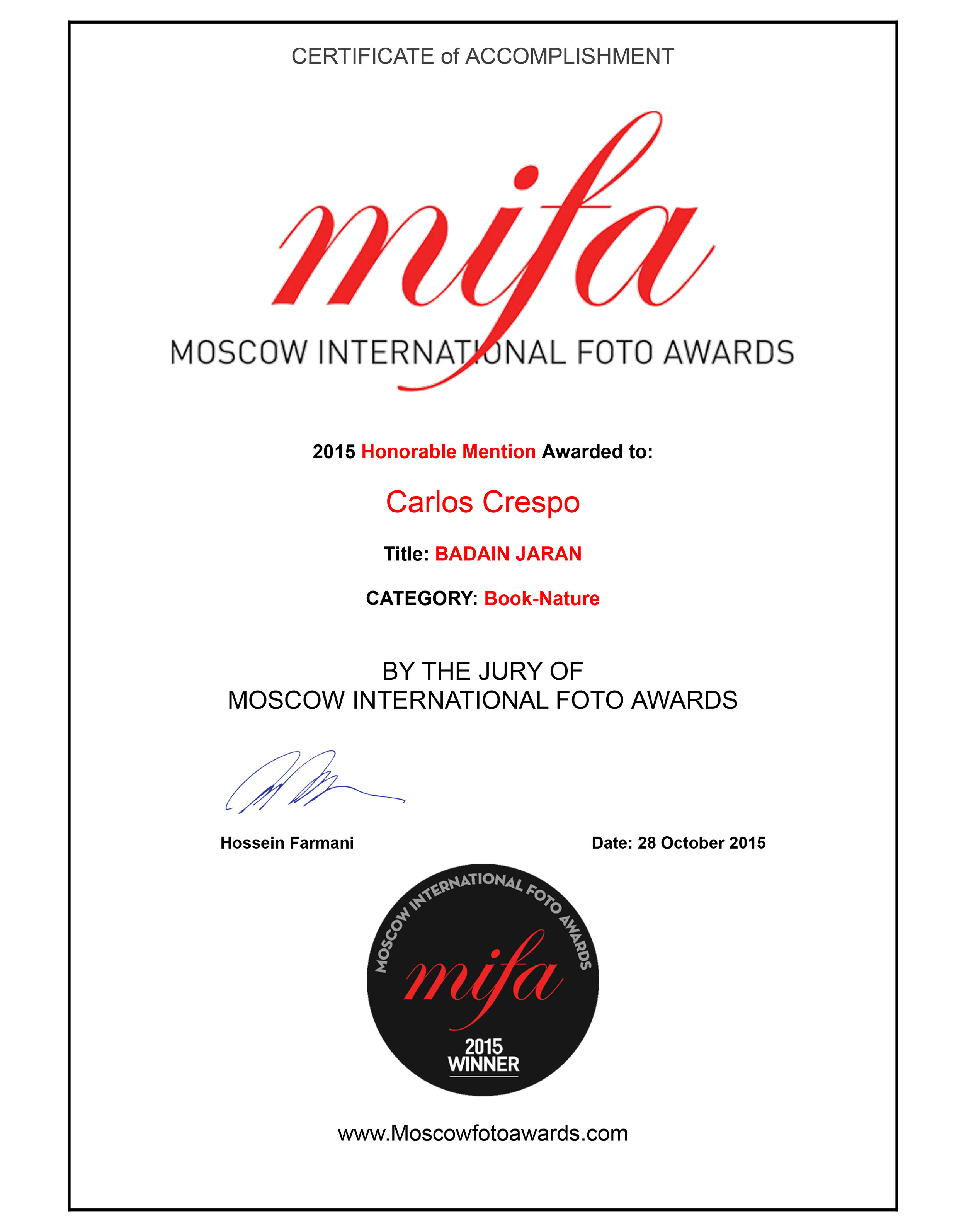Moscow International Foto Award Honorable Mention