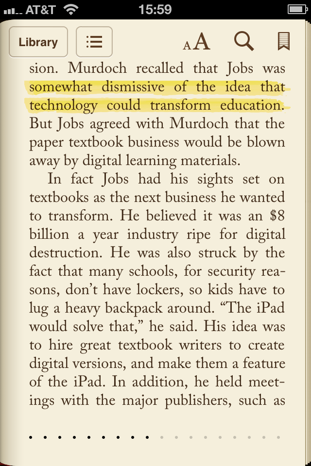 A couple of pages from the Isaacson biography of Jobs
