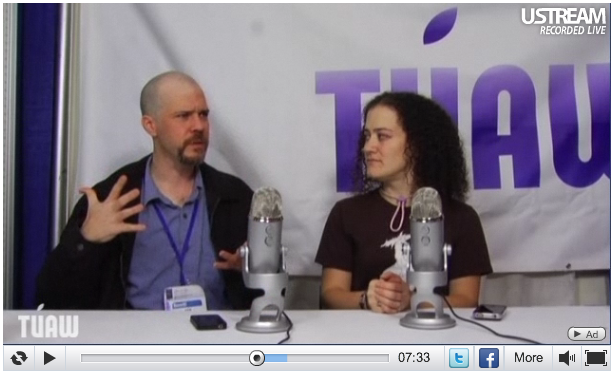 I got to be on TUAW's live stream from Macworld.  Watch it here!       Thanks to Kelly G and the people at TUAW for letting me sit and chat.