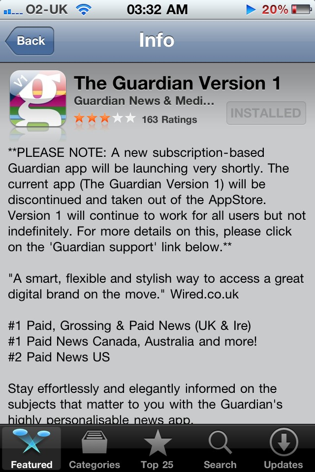 Nick was kind enough to send this my way. Confirmation of the subscription pricing expected soon? Or has 'The Guardian' find a workaround? Thanks Nick!