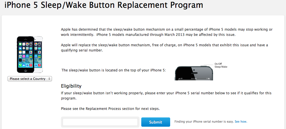 Looking for information on Apple's iPhone 5 Sleep/Wake button replacement program? You're on your way.  Click here to go there.