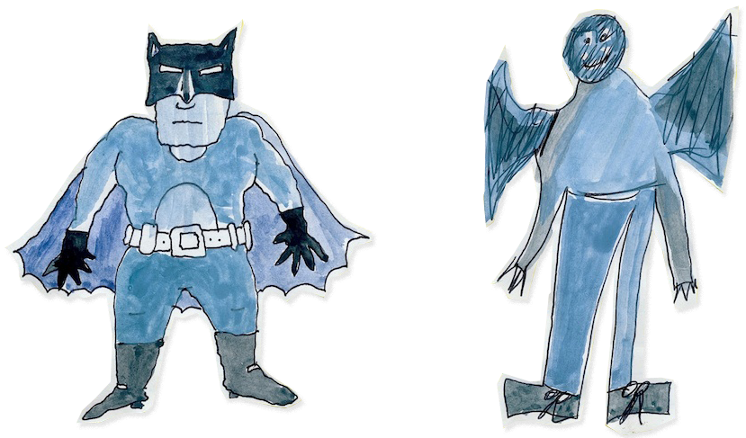 "Taken from Lynda Barry's comic essay,  ""Let's Draw a Car and then Let's Draw Batman"""