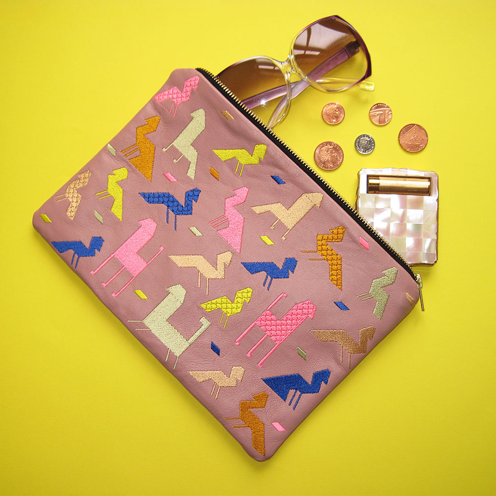 Embroidered Carpet Animal Pink Lamb's Leather and Multi Colour Thread Clutch Bag