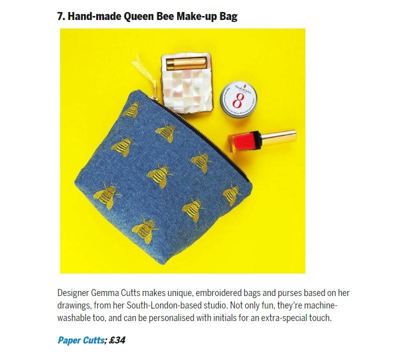Dad.info - Mother's Day Gifts - Featuring the 'Queen Bee' embroidered denim make up bag.