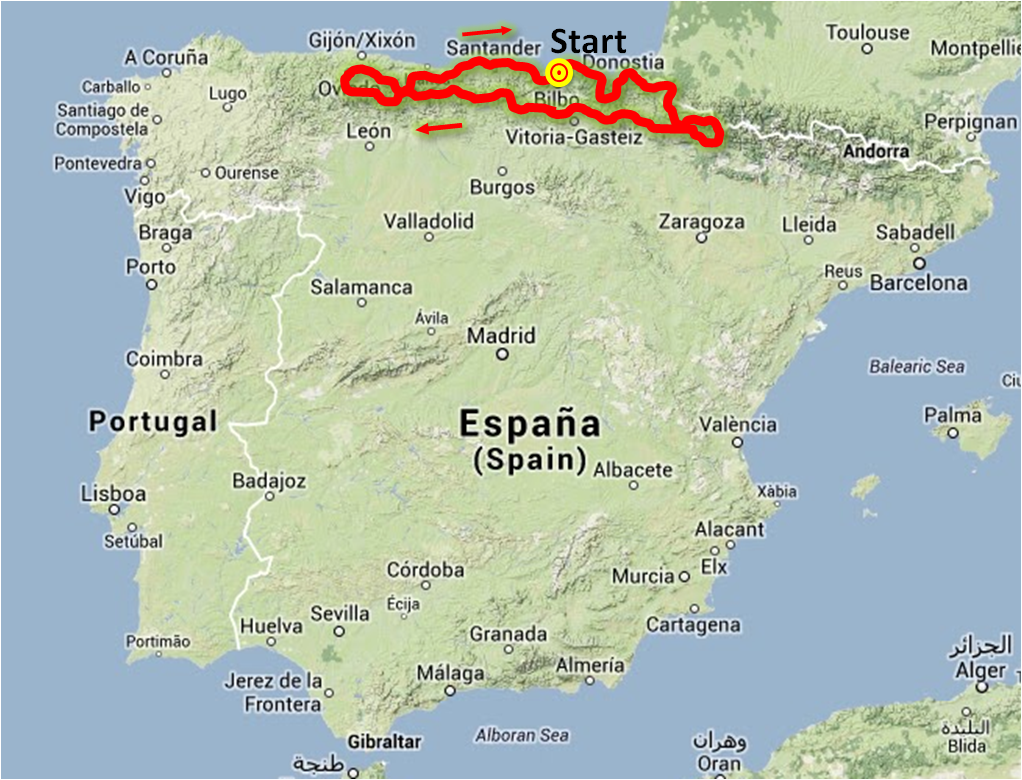 Northern Spain and Pyrenees Route - Approx. 1.750 km