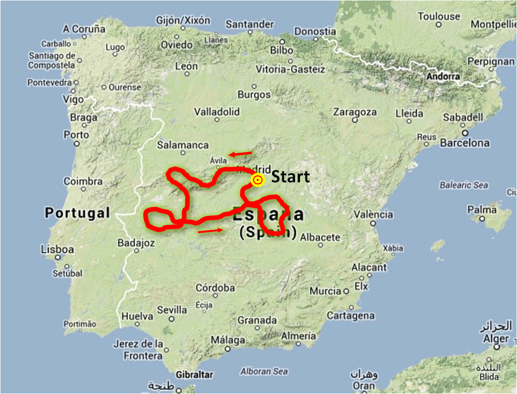 Map Of Central Spain.Central Spain 7 Days Frontera