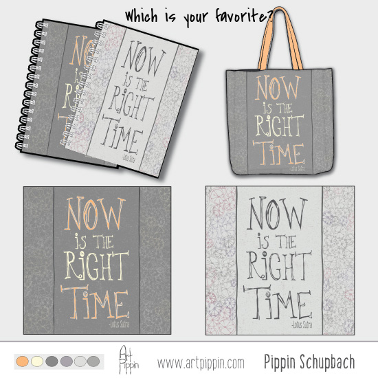 Tote Bag and Notebook Right Time Pippin Schupbach Art Pippin
