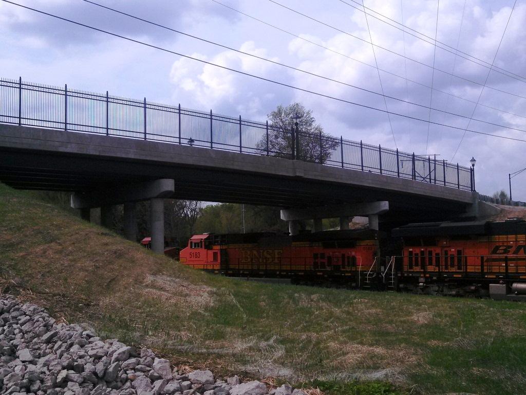 Train going under the Soangetaha Bridge in Galesburg, IL.