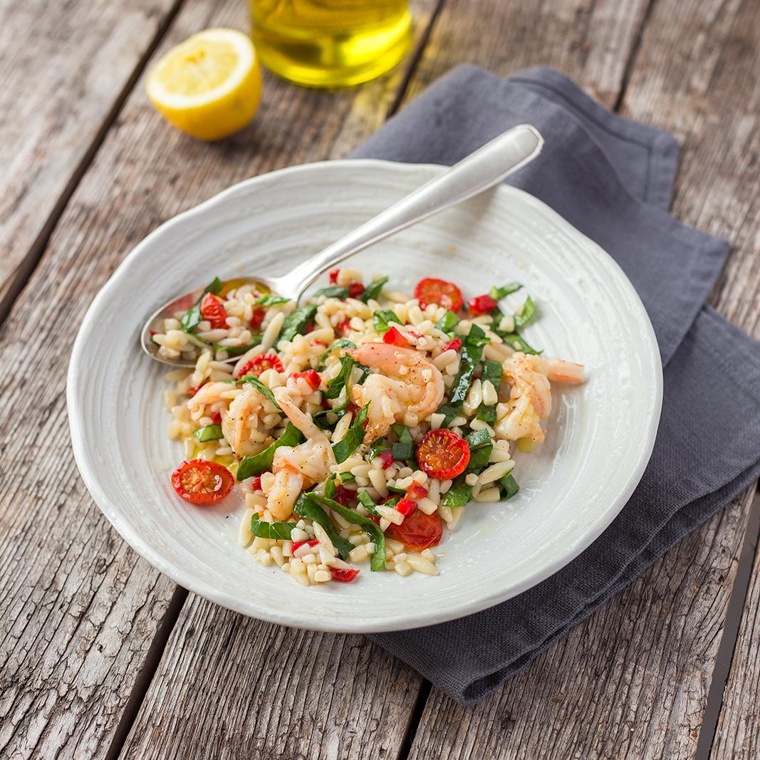 Summery orzo pasta salad