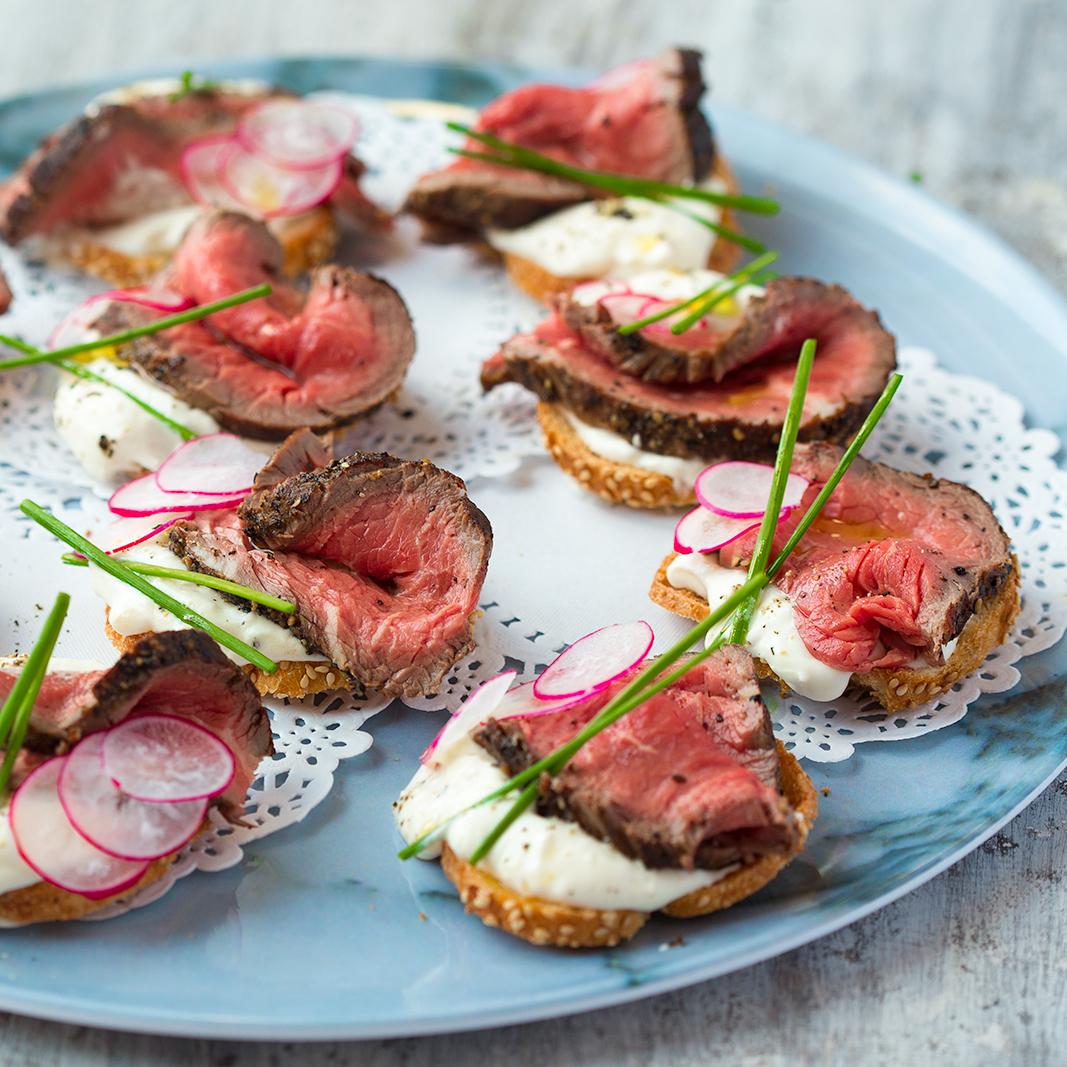 Beef and horseradish crostini