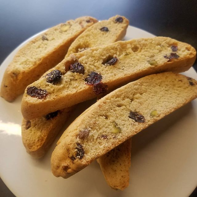 B I S C O T T I . It's back! Our Cranberry Pistachio Biscotti is perfect for dunking in our Traditional Latte.