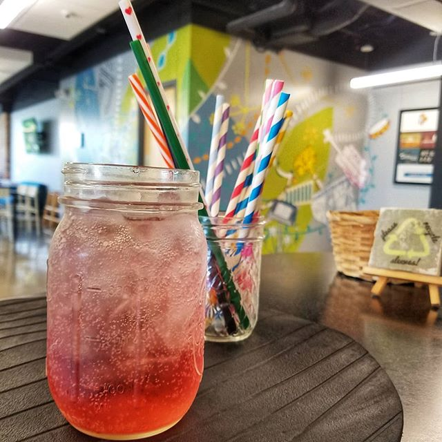 STAY A WHILE 👨🏽‍💻👩‍💻 . We love when you hang out with us! If you are staying let the barista know and we will get you a ceramic mug or mason jar. Need a straw? If you're staying we have a small collection of resuable straws. Just be sure to return them to the dish tub so we can wash and reuse them.♻️ Of course you can totally go without a straw too. 😉 . #OnePlanet ! #reducereuserecycle