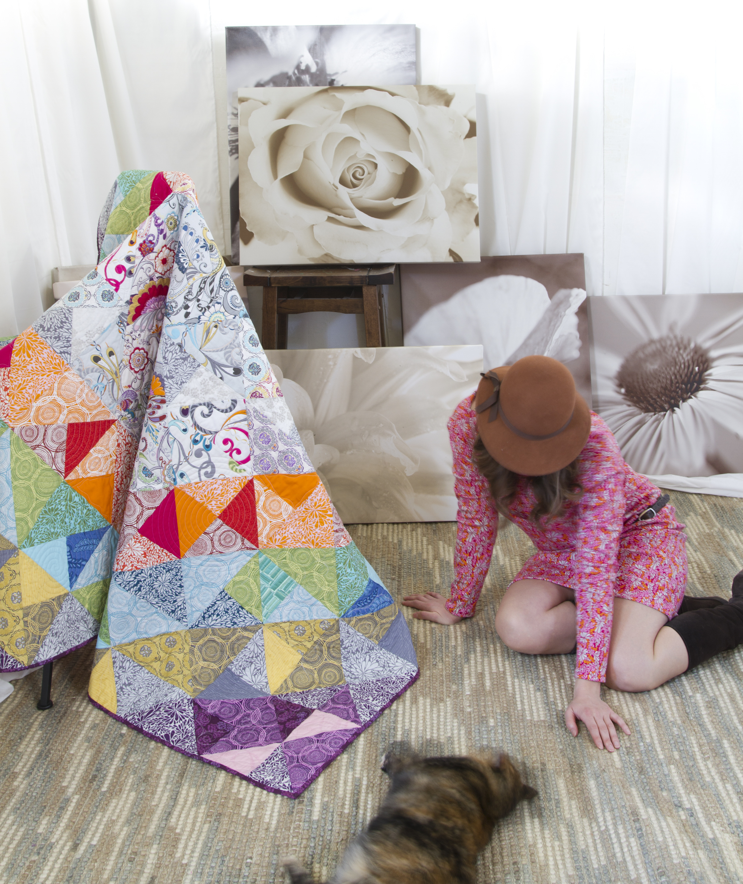 The Sondy dress pattern is available through The Stitchin' Post. The Journey Quilt pattern will be available as a free download from Robert Kaufman Fabrics. later this spring.