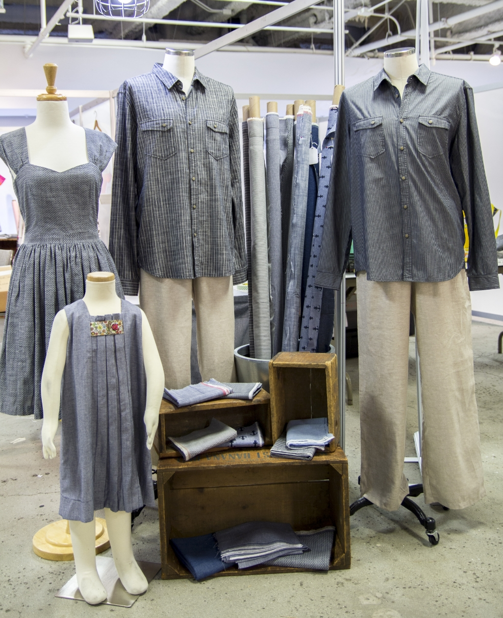 From left to right:  Cambie dress  by Sewaholic (Chambray Union),  Birthday Party dress  by Oliver + S (Chambray Union and London calling),  Traveler Shirts by Jacob Davis  (Railroad Denim).