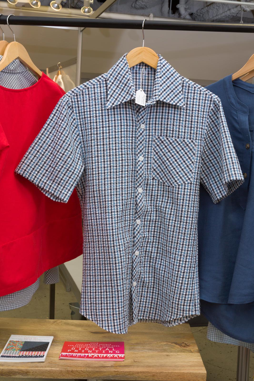 M6044 Men's Shirt   by   McCall's ,  made by   Ramona Rose  , featuring   Indigo Seersucker.