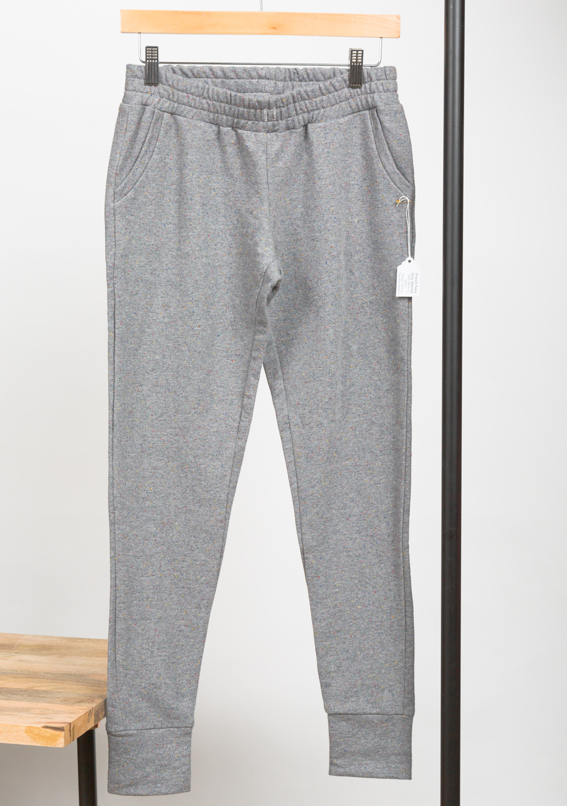 HUDSON PANT  DESIGNED BY    TRUE BIAS PATTERNS ,  MADE BY   PINK SUEDE SHOE ,  FEATURING   FRENCH TERRY GREY SPECKLE
