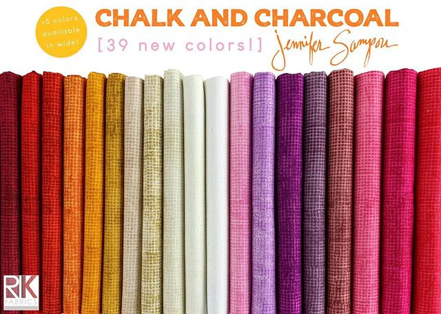 Shipping this month - 39 new Chalk and Charcoal fabrics by @jennifersampou! 🌈 These new brights have us smiling from ear to ear. Visit our website to see them all! 😀