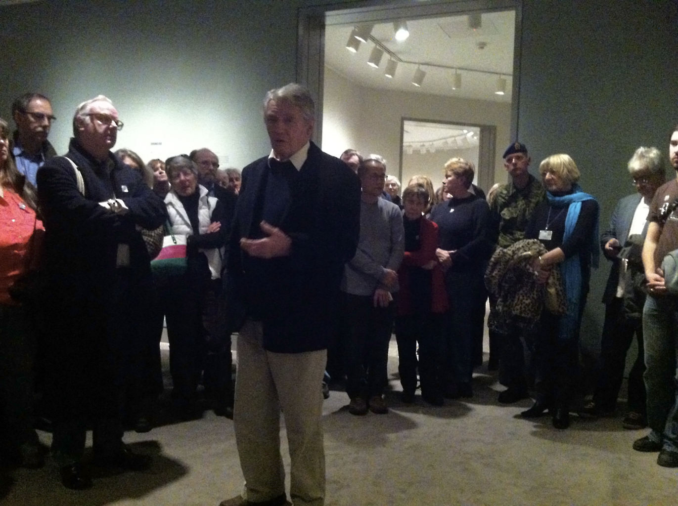 Don McCullin speaking to a full house at the National Gallery of Canada