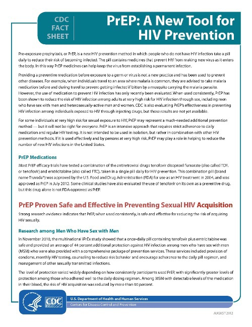PrEP Factsheet from the US Centers for Disease Control (CDC)