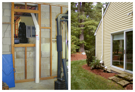 The Radon reduction system from the basement floor to the exhaust fan outside with a vent pipe to roof.