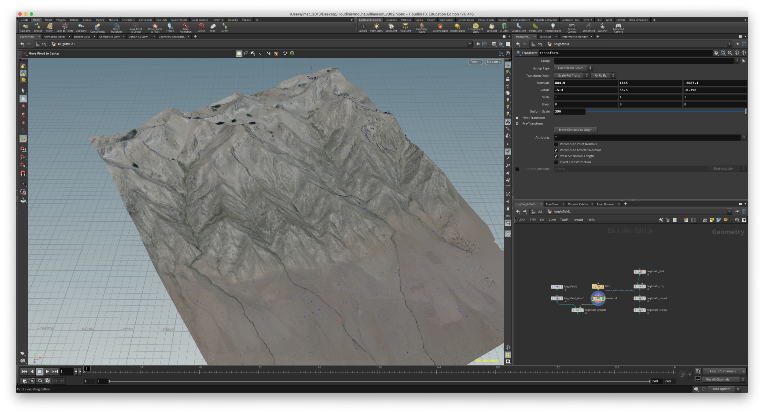 Now trying to line up MetaShape geo with my scaled geoTIFF terrain.