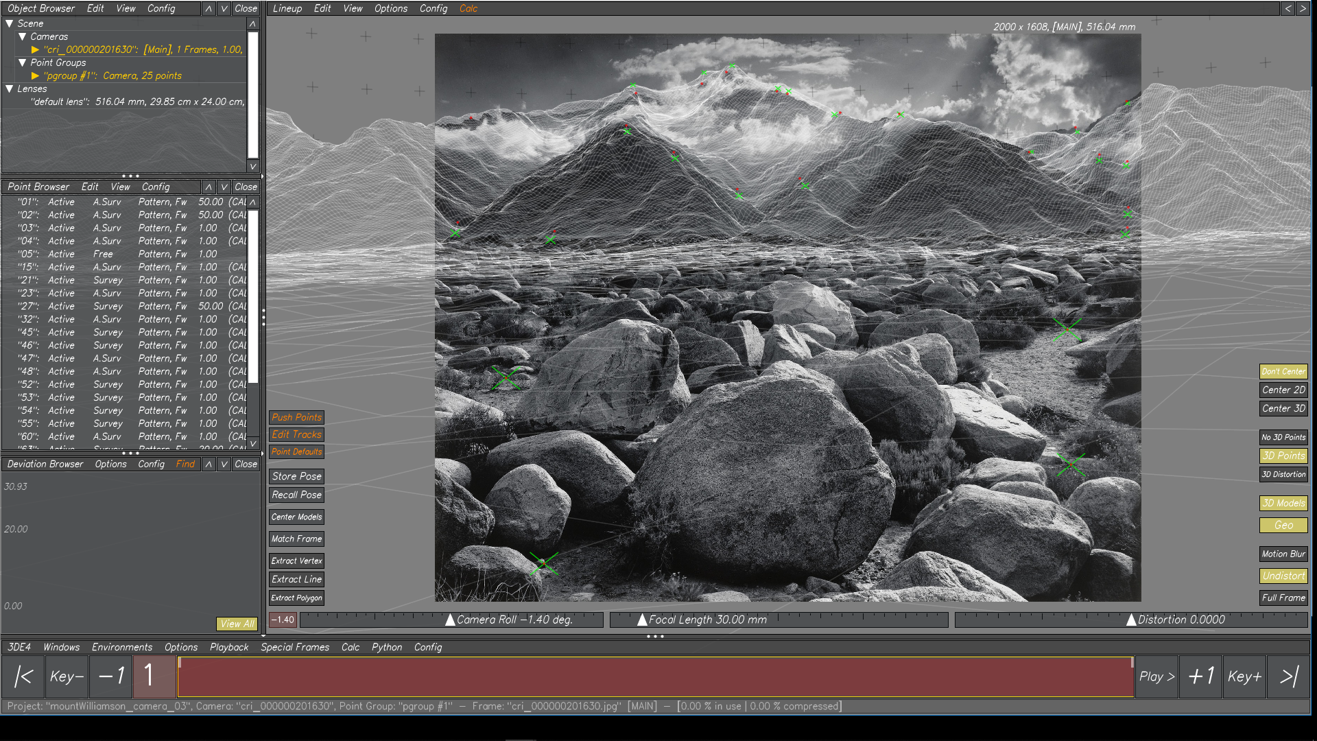 Houdini Heightfield lined up with focal length calculated in 3DEqualizer to Ansel Adams' Mount Williamson.