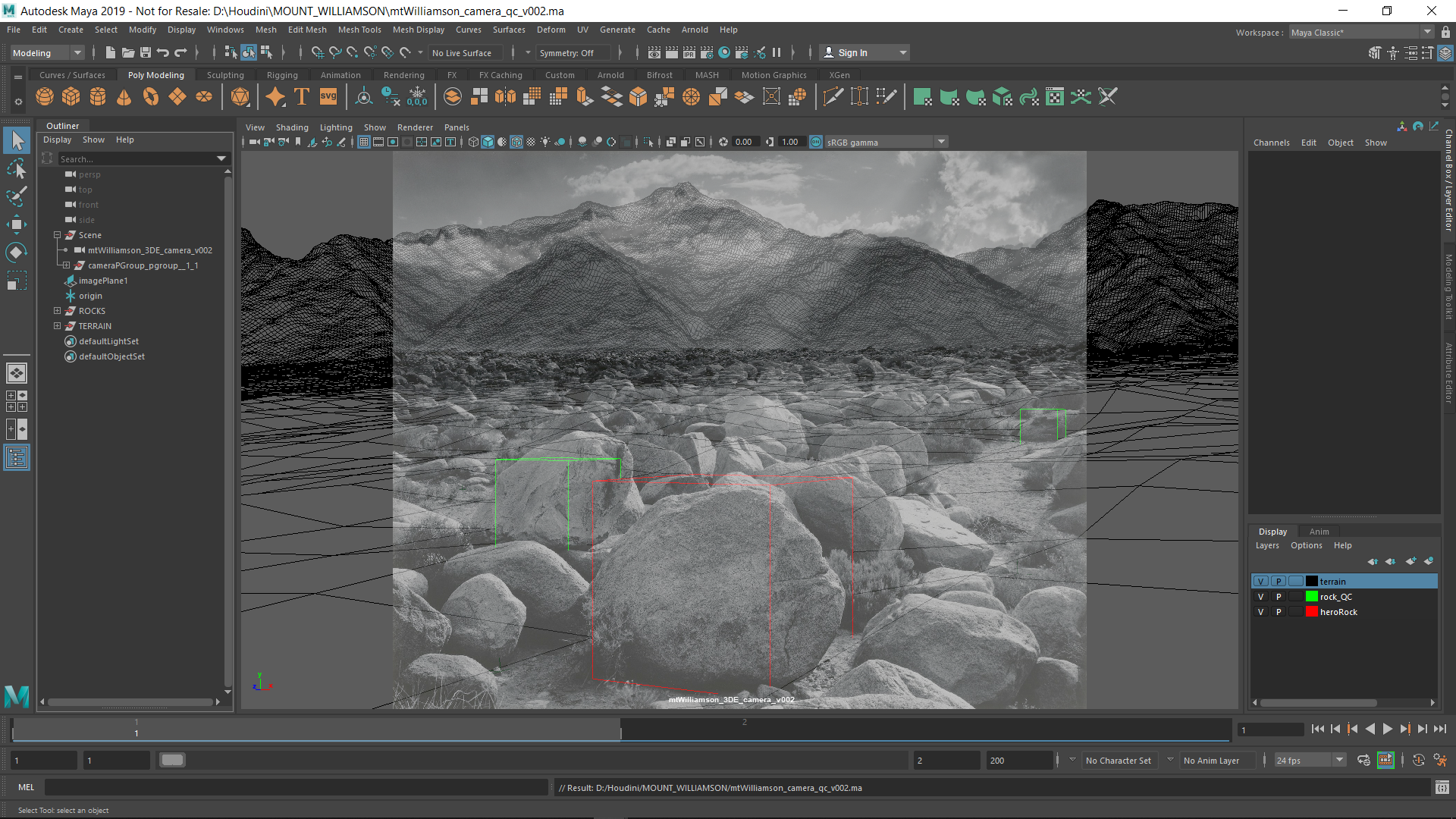 In Maya QC of ground with 1m cubes. It's looking good!