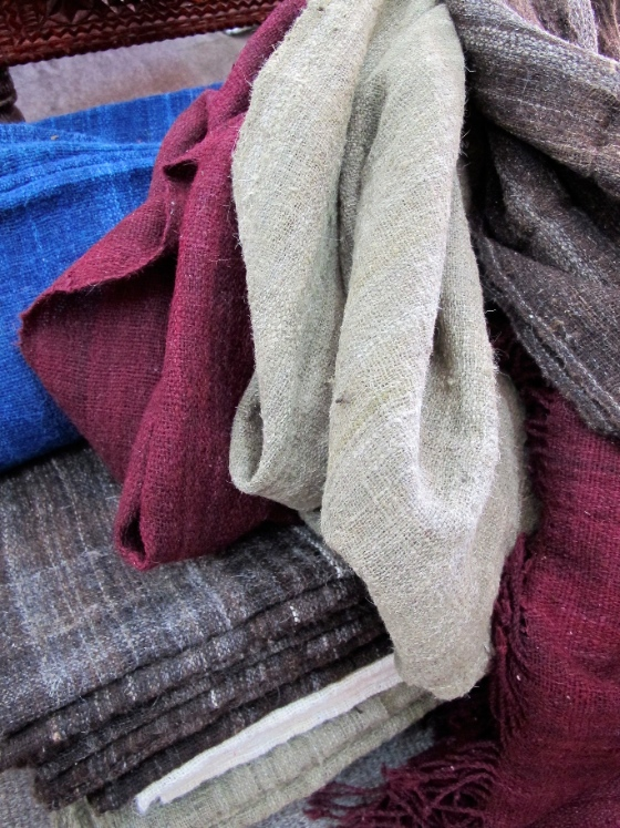 Our blankets and throws ready to be sent for embroidery. The wool is dyed naturally.