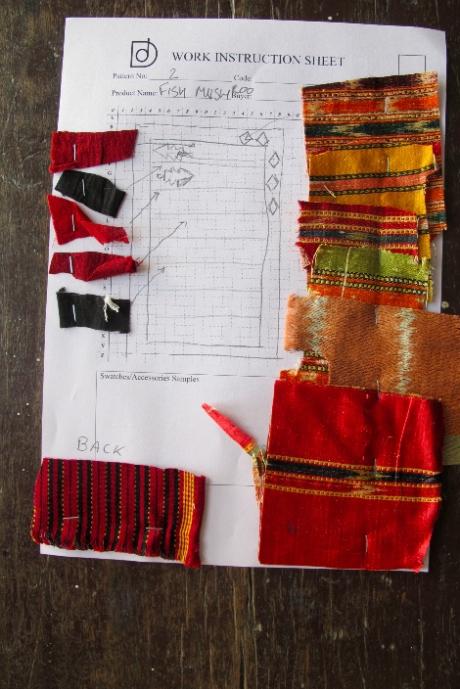 Work in progress on the Fish Mashru quilt