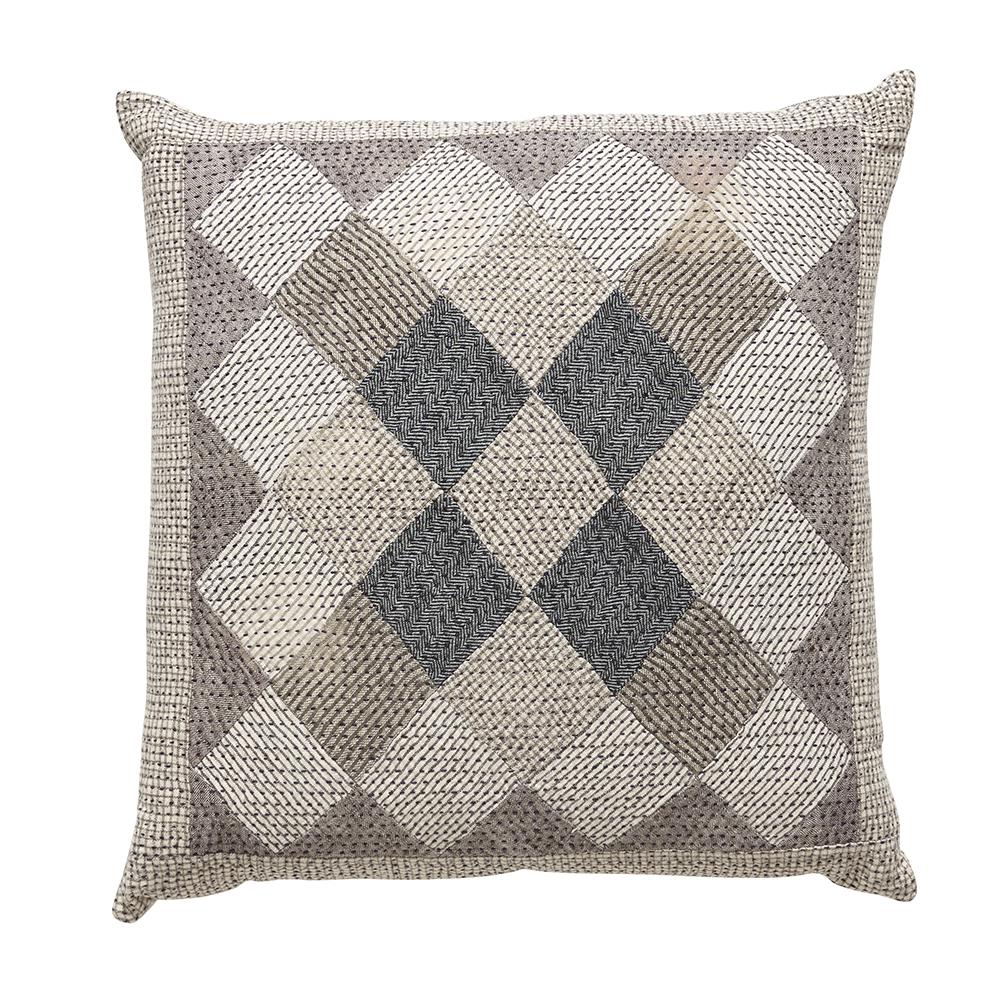 Khamir organic cotton patchwork cushion