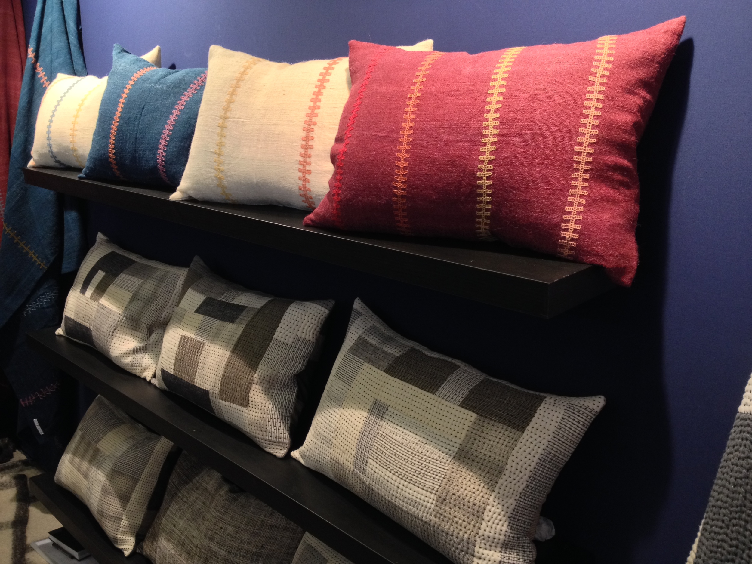 New patchwork Chindi cushions and improved handwoven wool Desi cushions