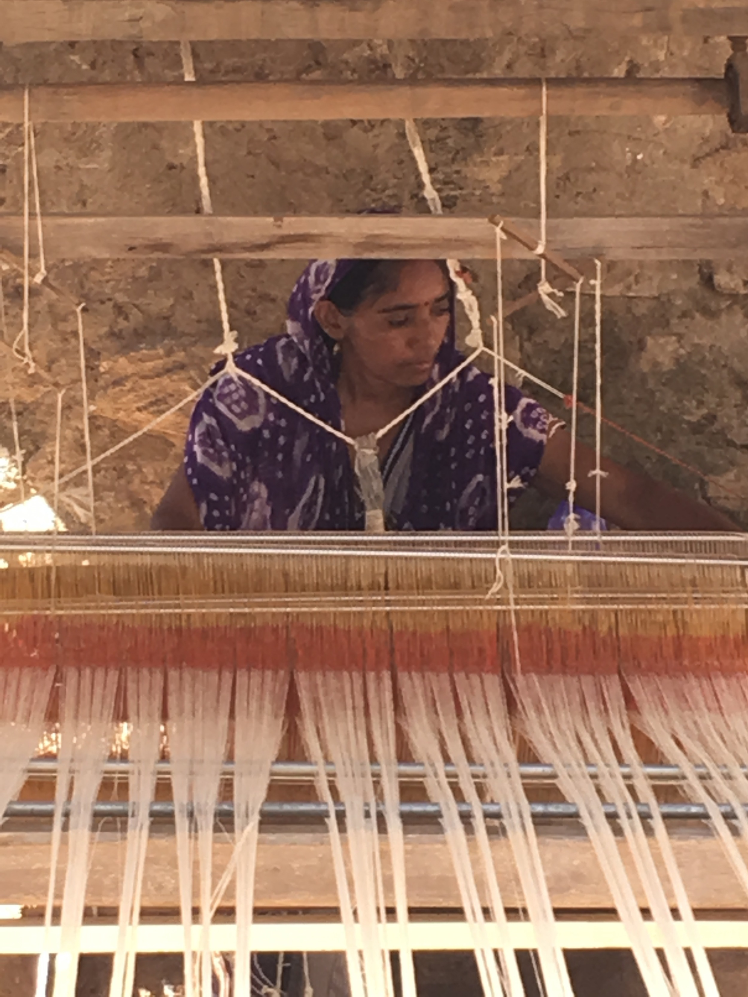 This lady is actually weaving one of the cloths for our new Chindi patchwork collection!