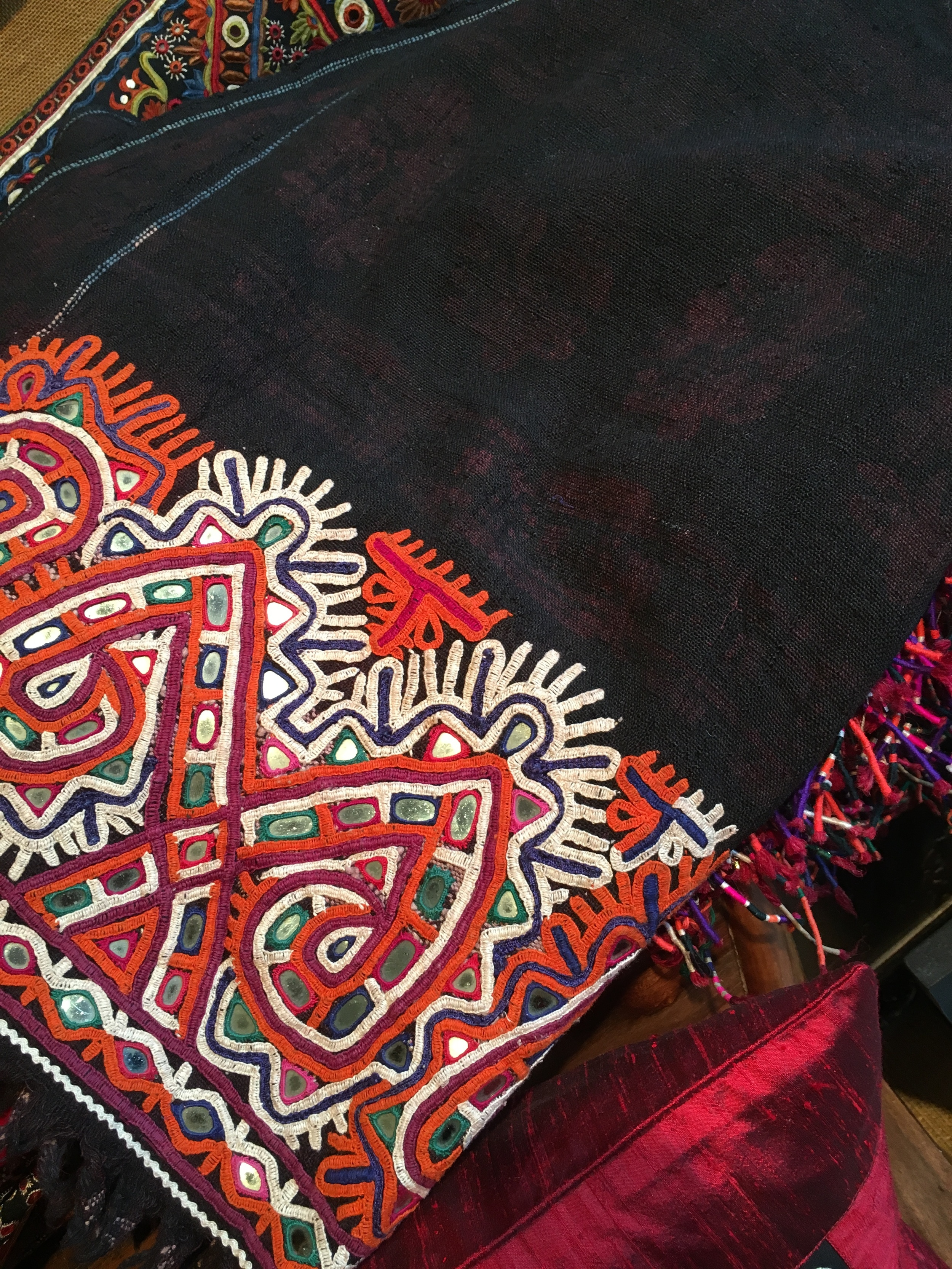 Hand woven and embroidered Rabari shawl from Kutch