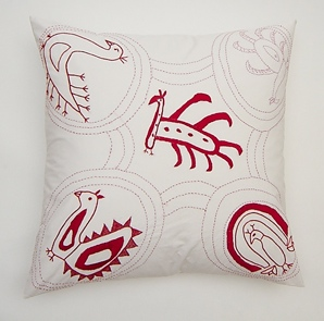Manali Peacocks cushion by Stitch by Stitch, incorporating peacocks by Kutch  embroiderers